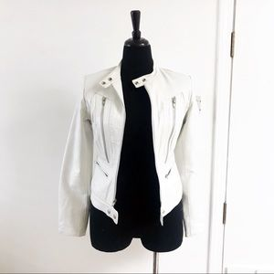 JOE'S JEANS White Lambskin Leather Moto Jacket